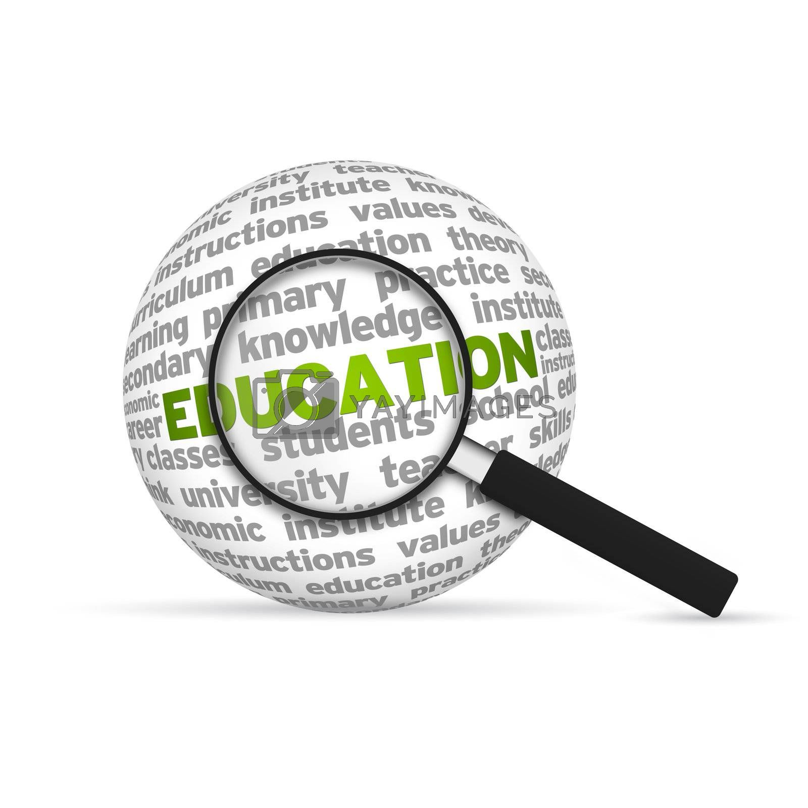 Education 3d Word Sphere with magnifying glass on white background.