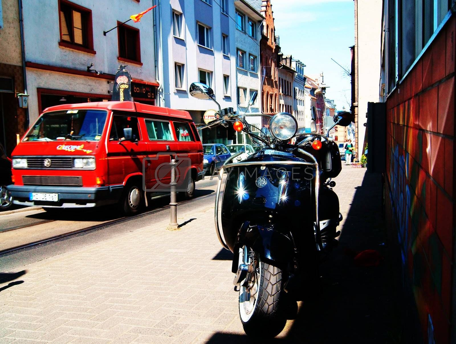 Street scene in the historic old town of Mainz.
