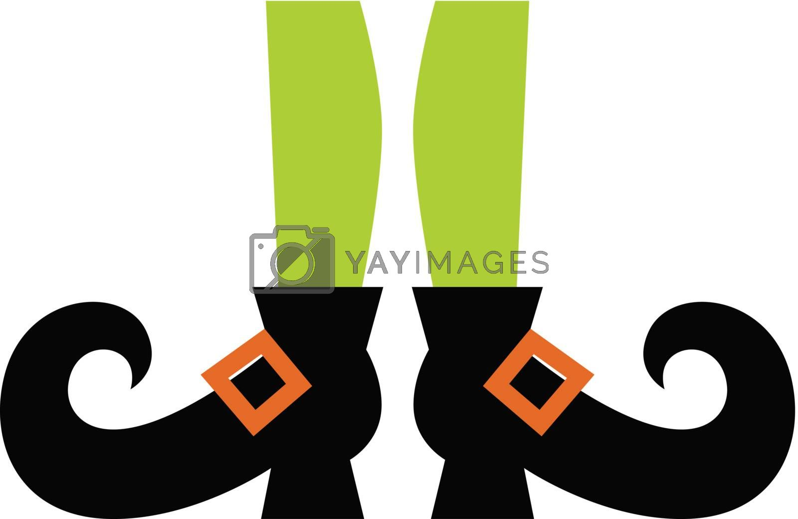 Cartoon witch legs. Vector Illustration