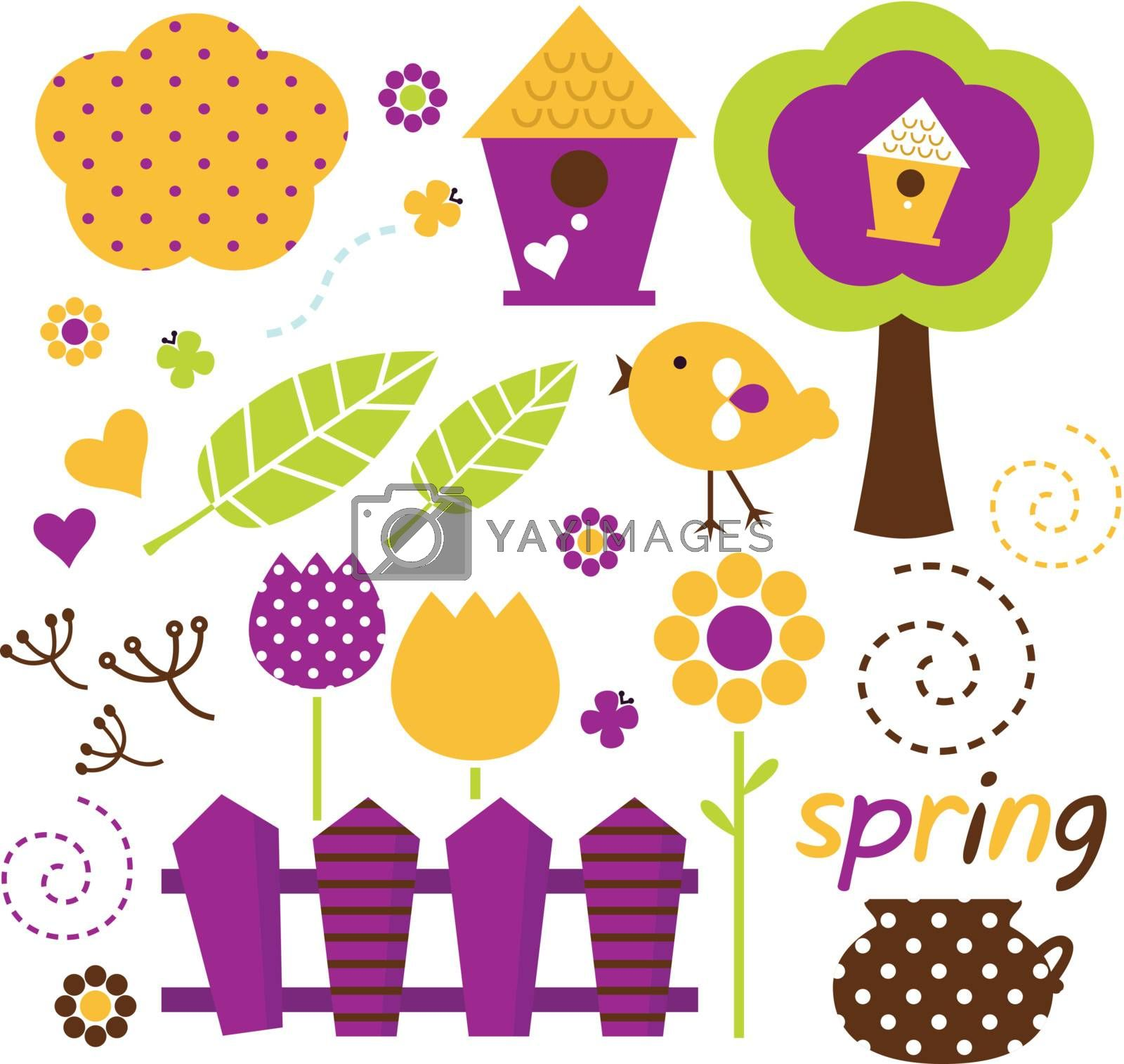 Spring retro floral design elements. Vector
