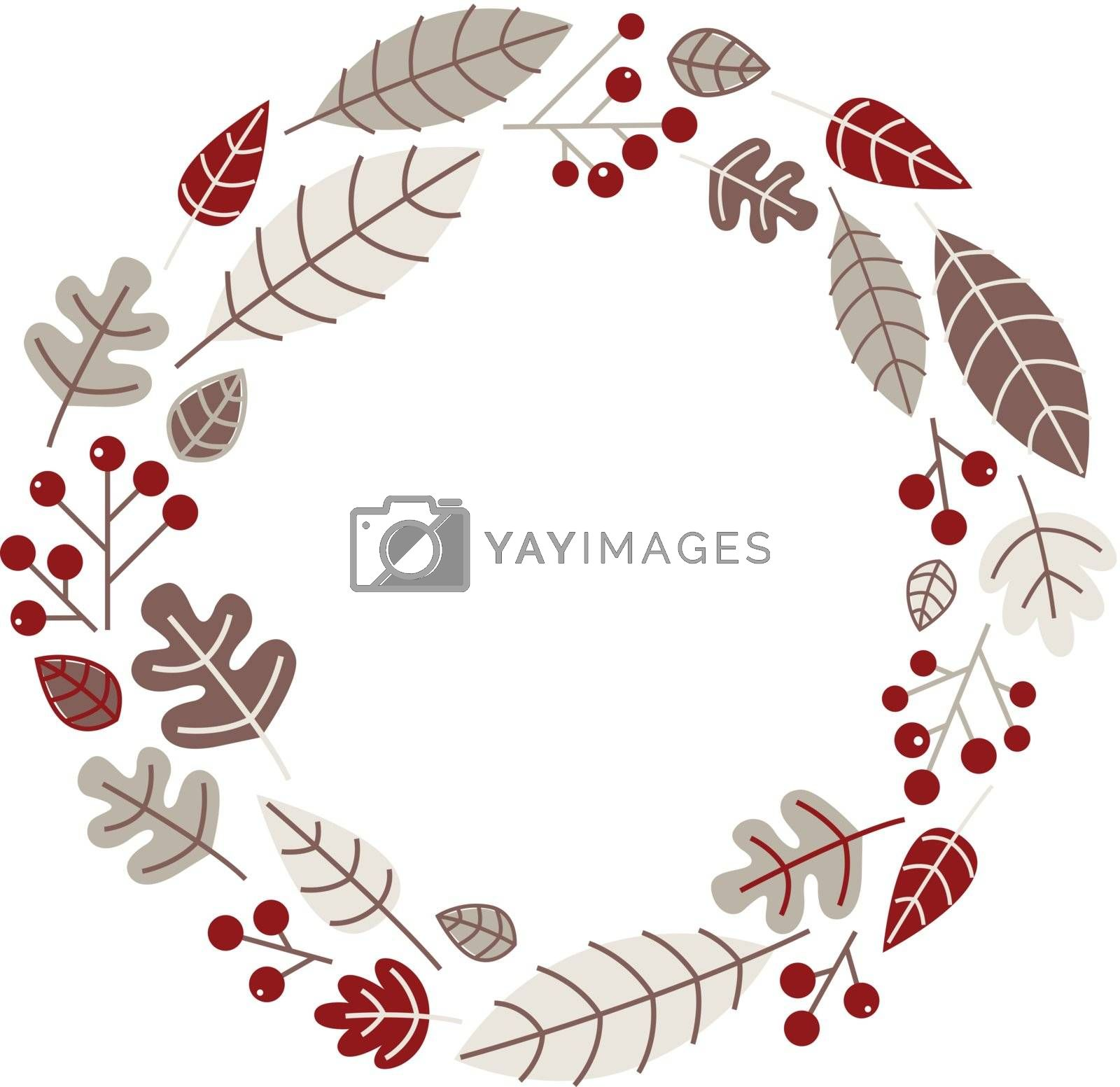 Retro xmas wreath with leaves and ashberry. Vector illustration