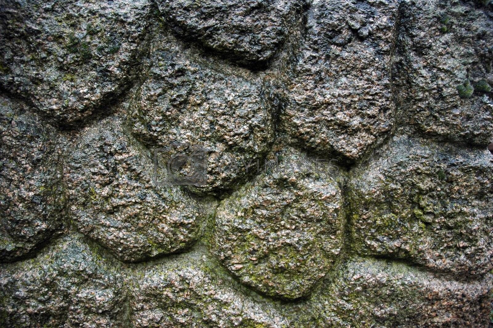 Old wet stone wall