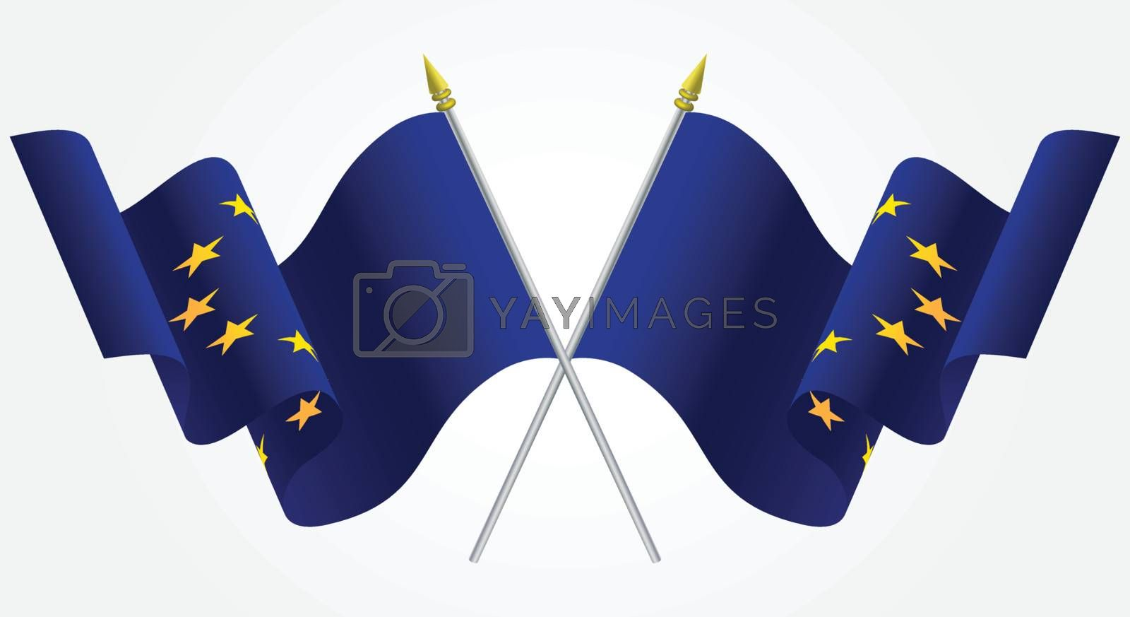 Isolated Twin European Union flags waving on white