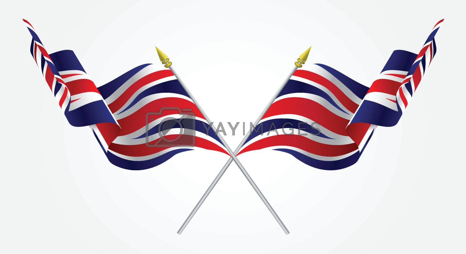 Isolated Twin United Kingdom flags waving on white