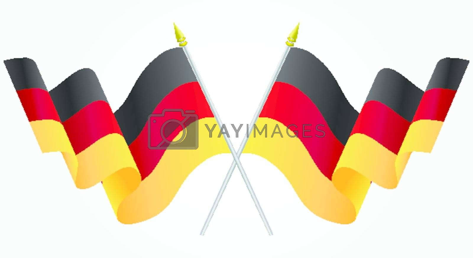 Isolated Twin Germany flags waving on white