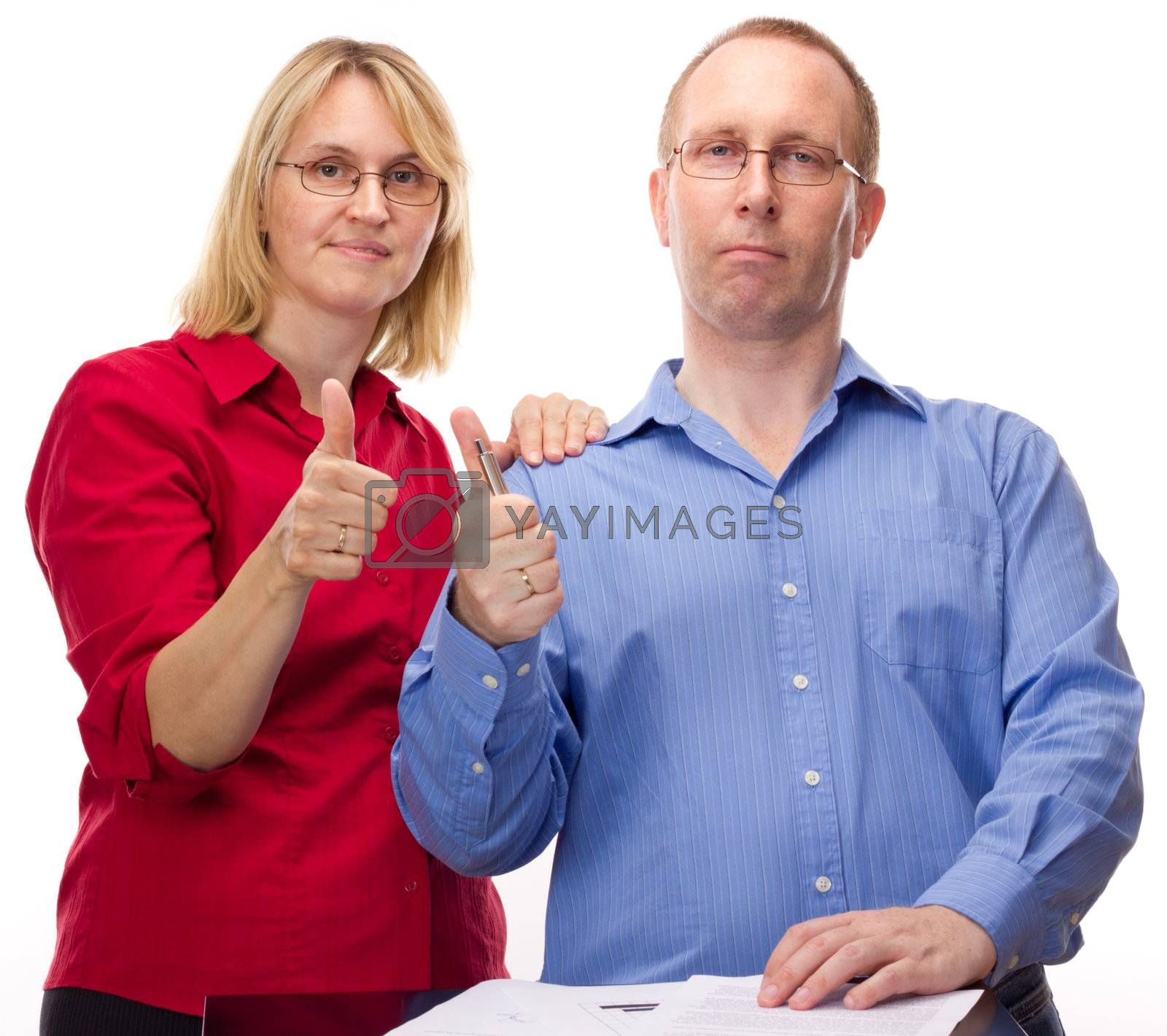 Two business people working