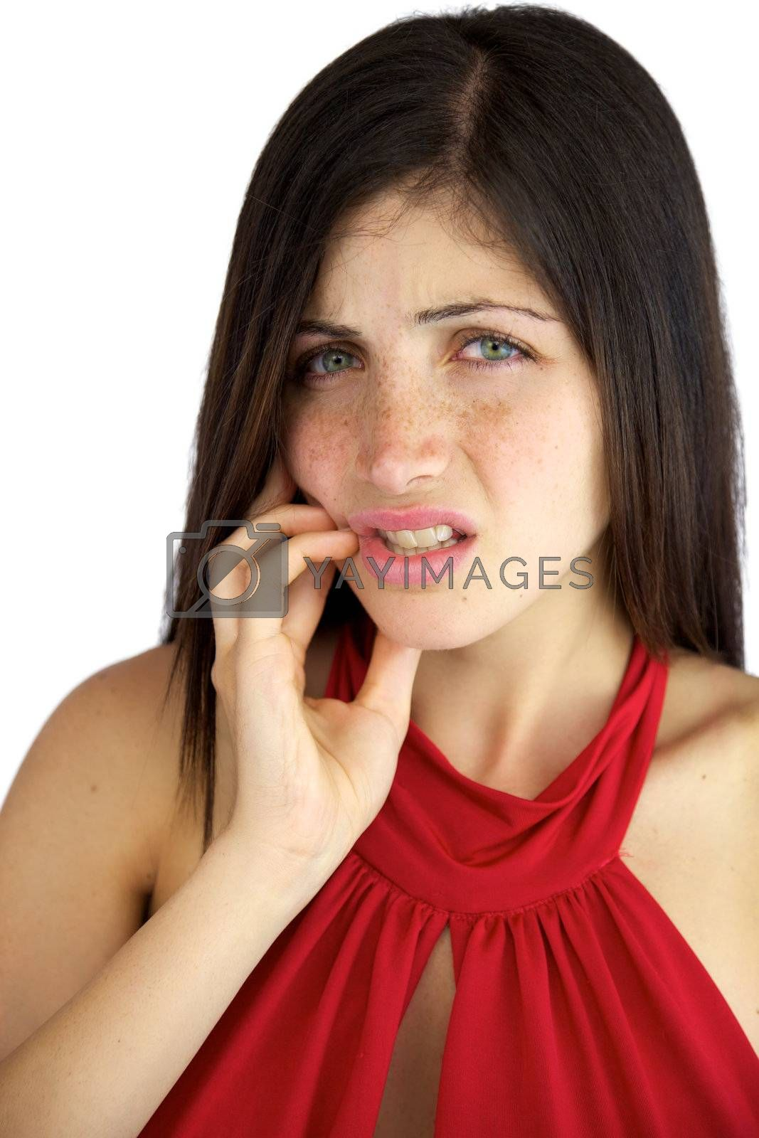 Strong toothache giving pain to beautiful young woman