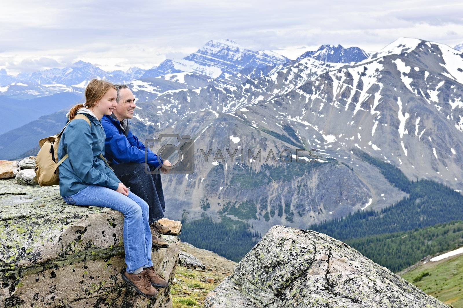 Father and daughter enjoying scenic Canadian Rocky Mountains view in Jasper National park