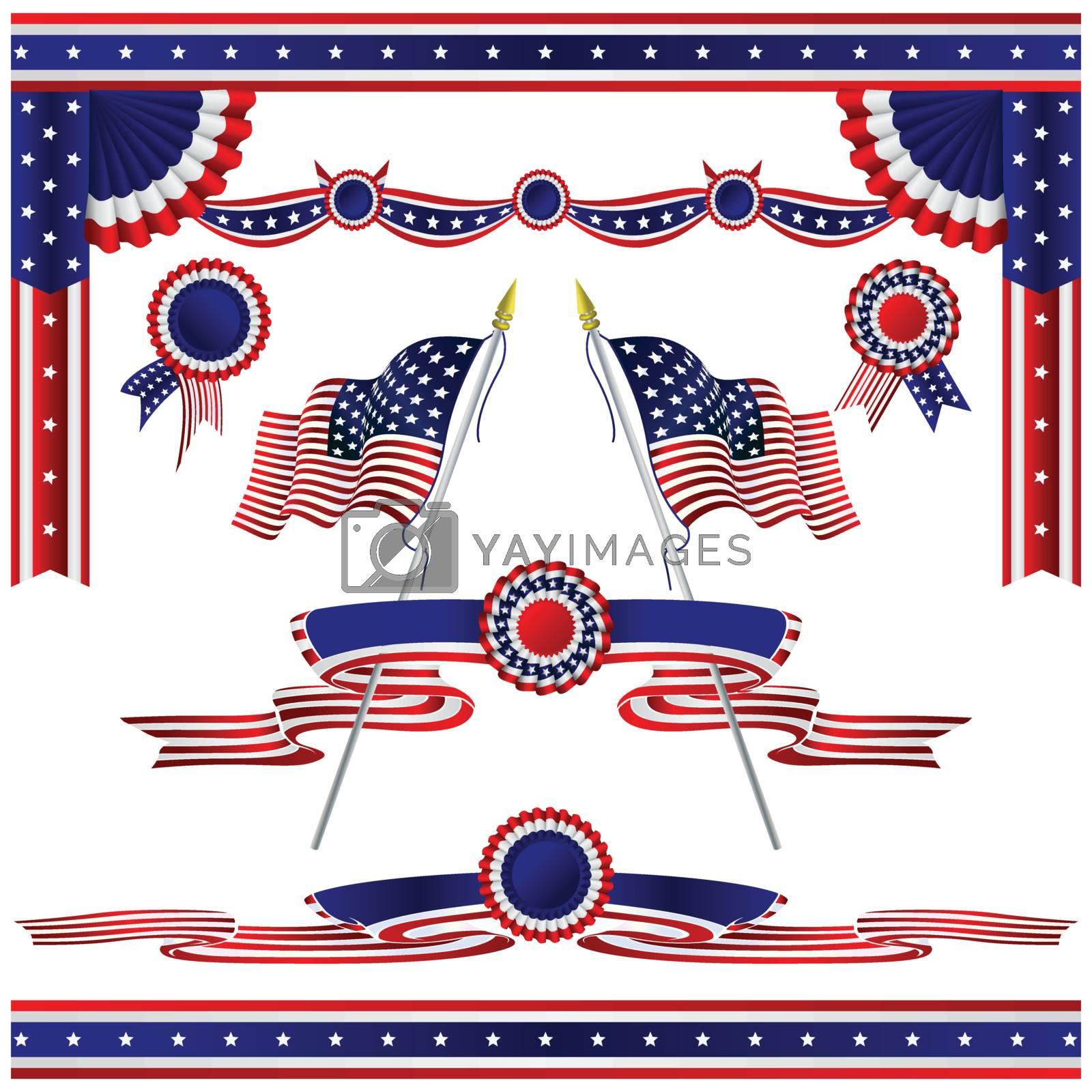 Isolated decorative flags USA set
