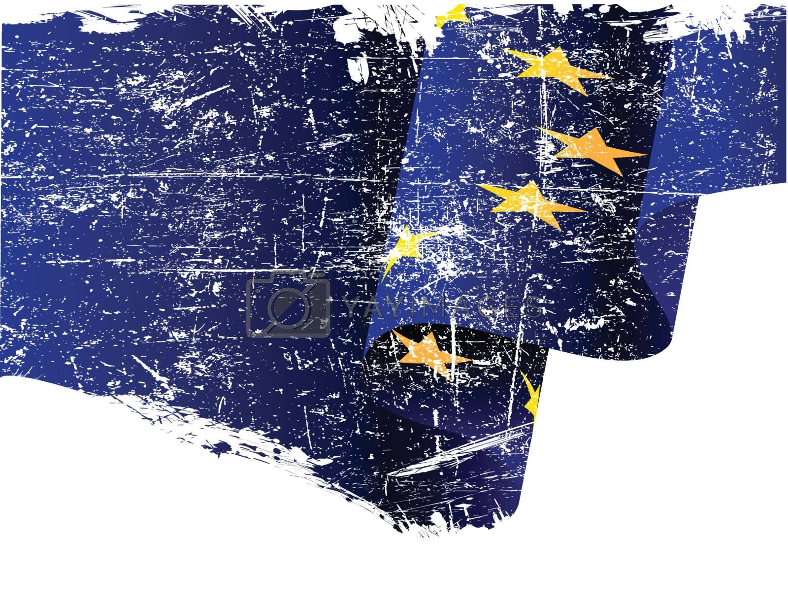 Isolated grunge European Union flag with copy space
