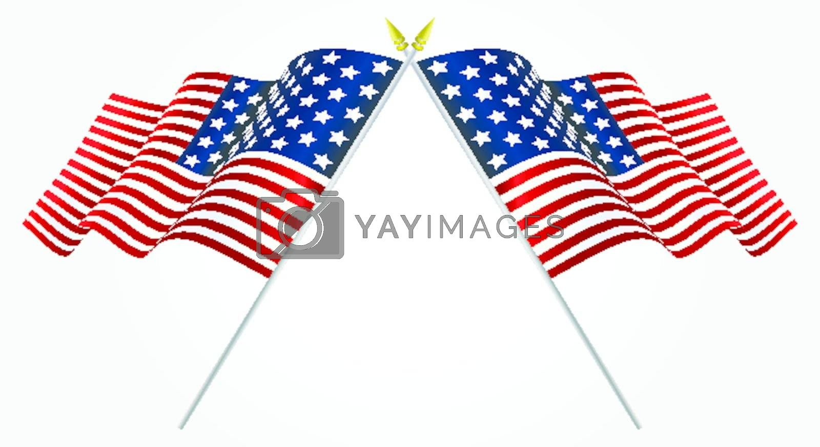 Isolated Twin American flags waving on white
