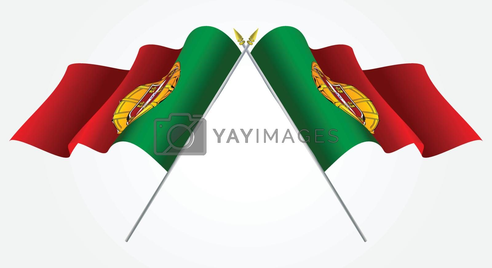 Isolated Twin Portugal flags waving on white