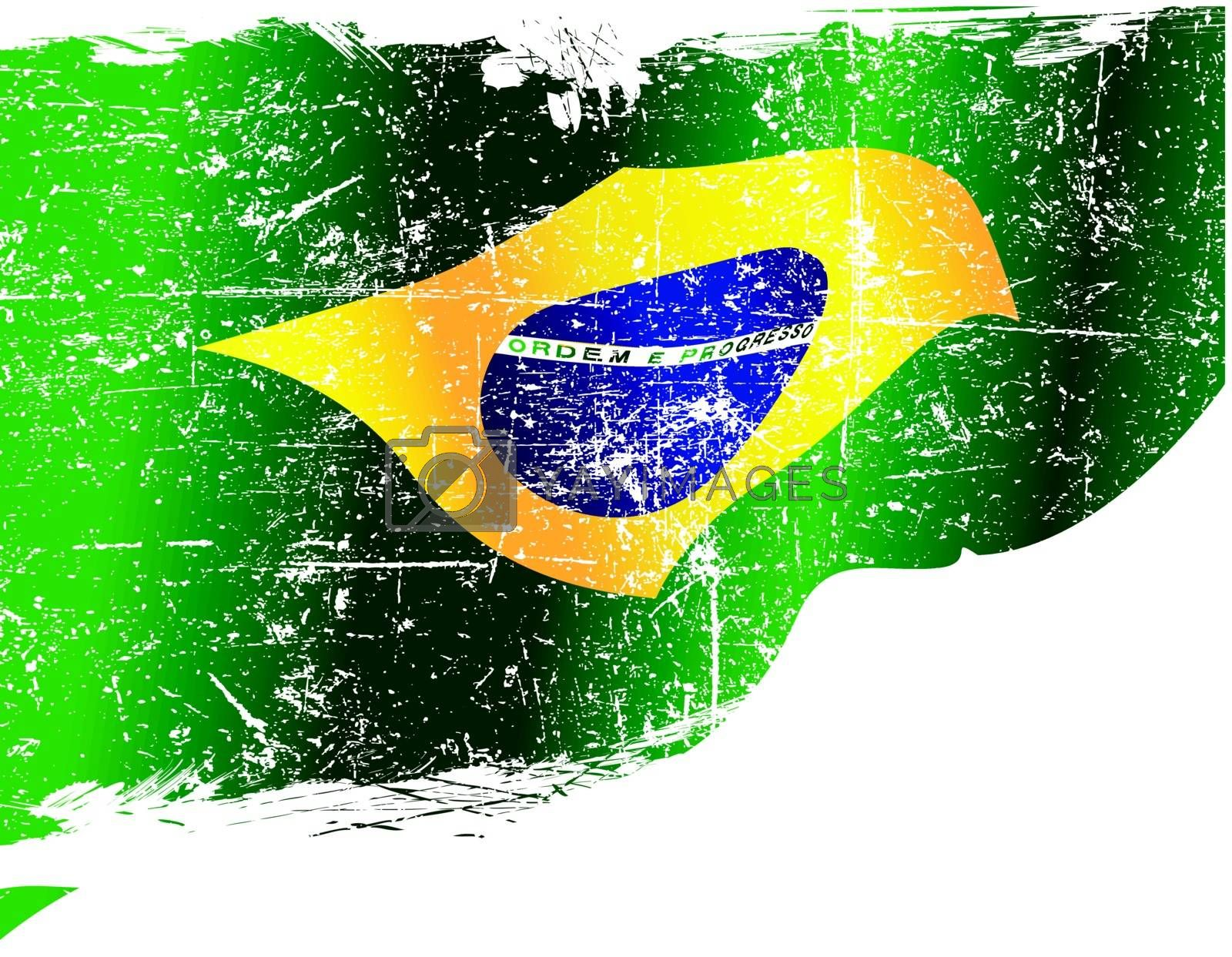Isolated grunge Brazilian flag with copy space