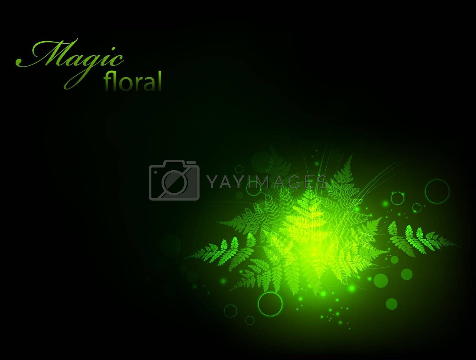 magic green fern floral decoration in the night, copyspace