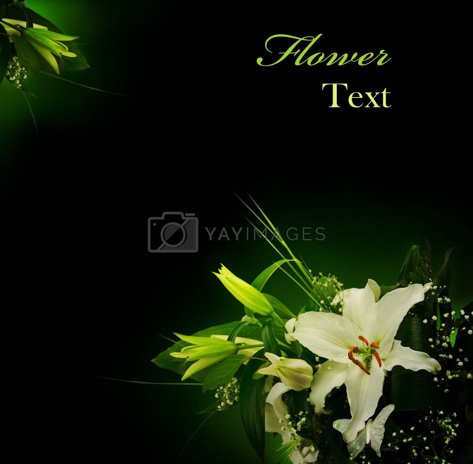 bouquet of lilies and green leaves over black with copyspace