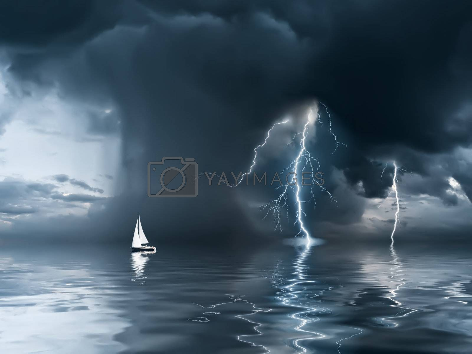 Yacht at the ocean, comes nearer a thunderstorm with rain and lightning on background