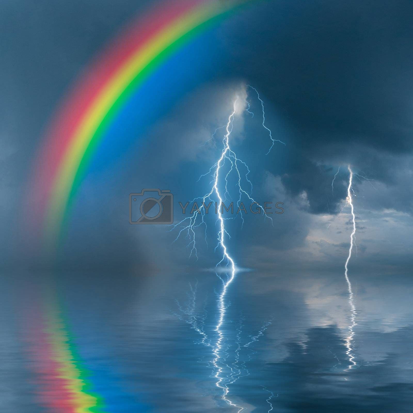 Colorful rainbow over water, thunderstorm with rain and lightning on background