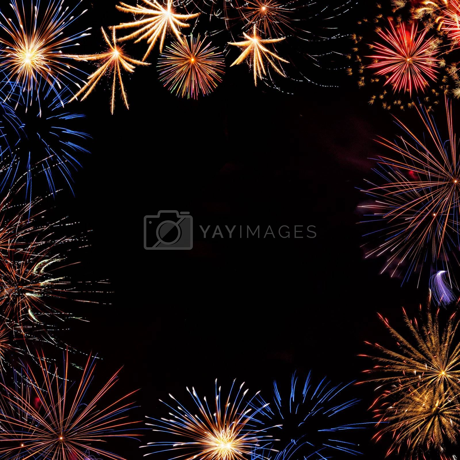 Frame from colorful holiday fireworks with place for your text, for design