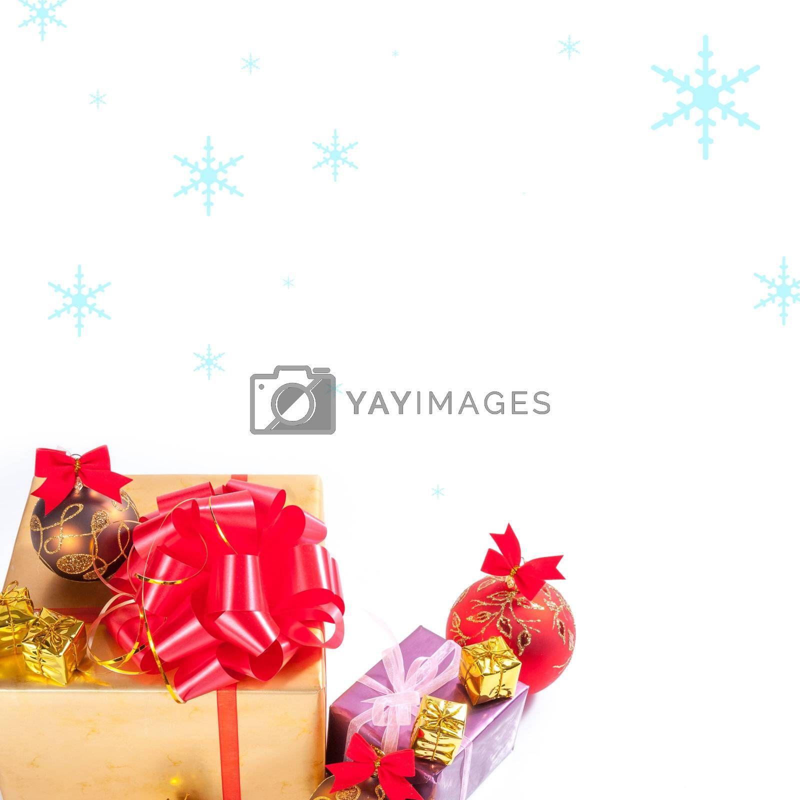 Christmas gift and balls with snow on white background