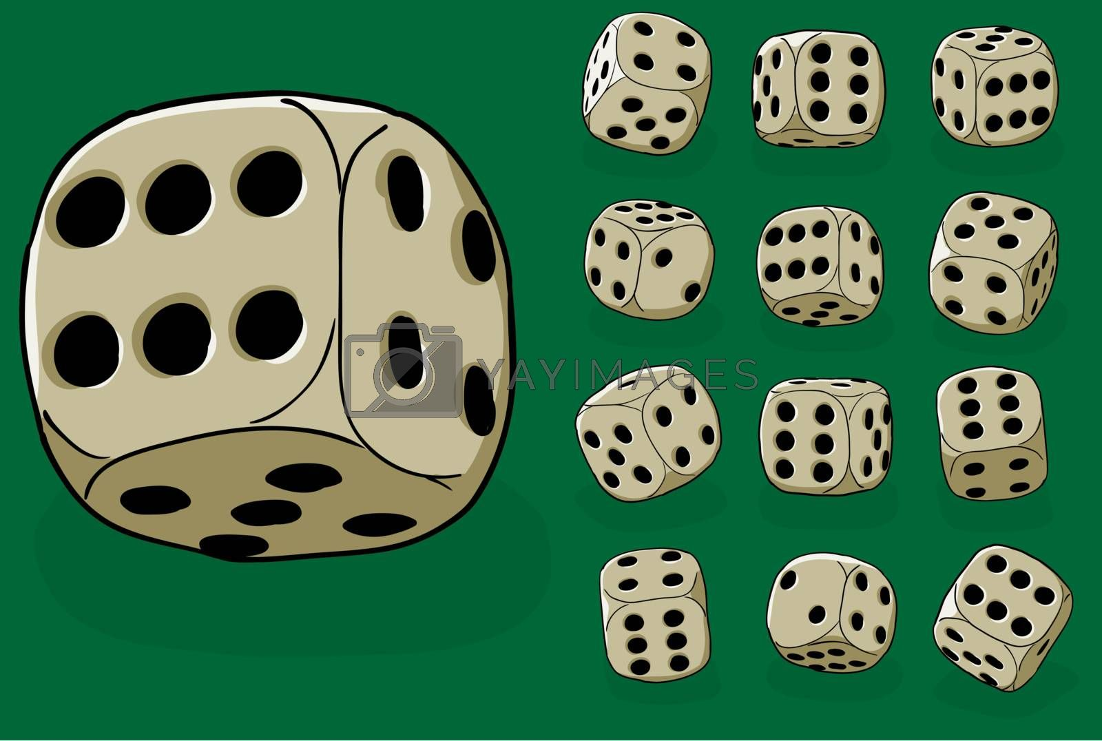 Set of old dices on green - vector illustration by pzaxe