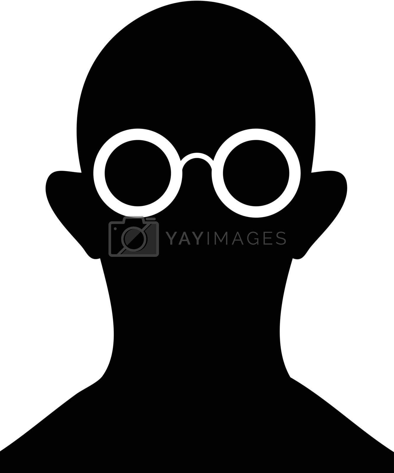Silhouette of person with eyeglasses - vector by pzaxe