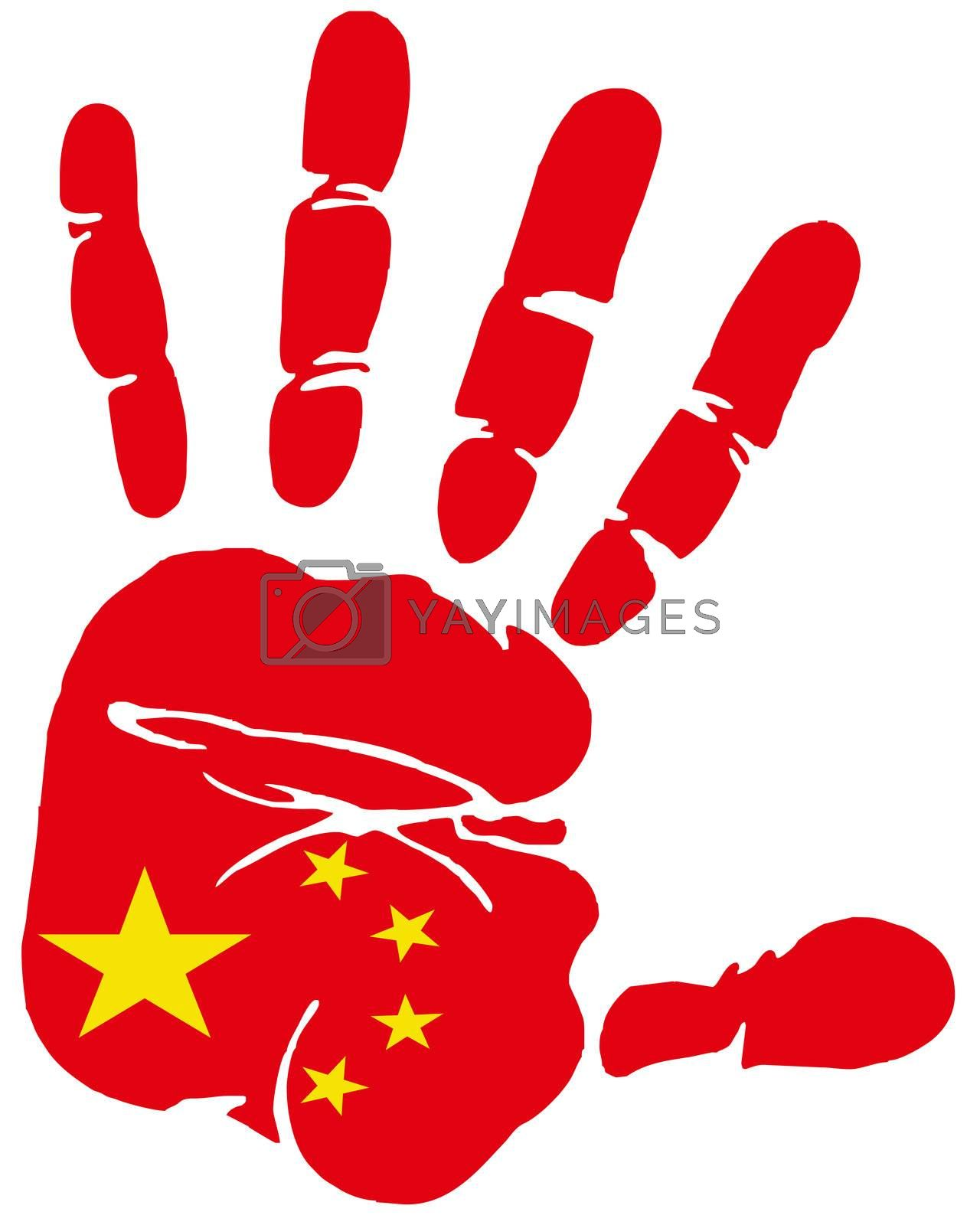 Hand print impression of flag of Peoples republic of China