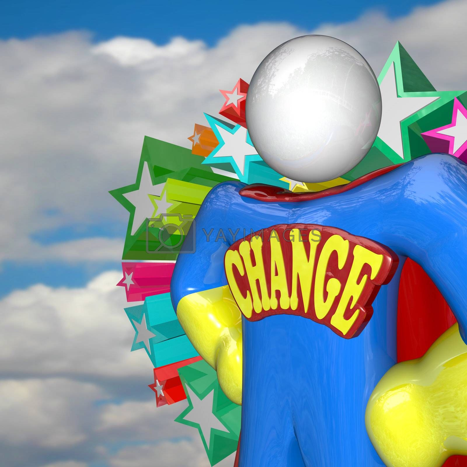A superhero stands with the word Change as an emblem across his chest, looking to the future to lead a new era of adapting to a changing world and evolving to survive