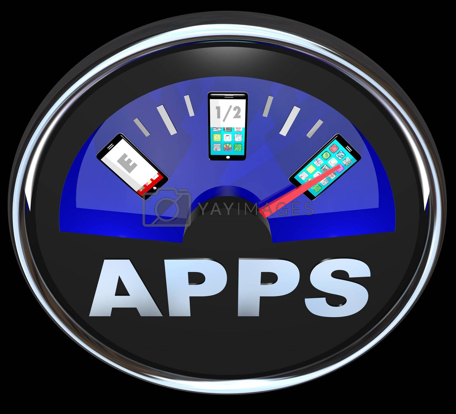 A fuel gauge measures the amount of apps in your smart phone, with the needle pointing to a mobile phone or other device that is full of applications