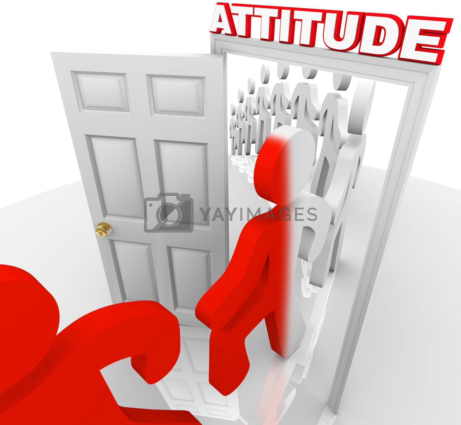 A line of people step through a doorway marked Attitude and are transformed and ready for success by embracing positivity and other good qualities