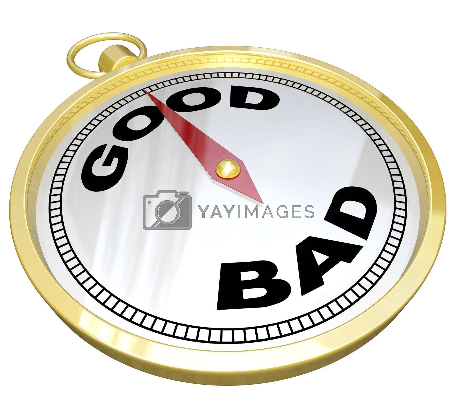 A gold compass with the words Good and Bad with needle pointing to Good, meaning that positive qualities outweigh negative characteristics in the quest for success