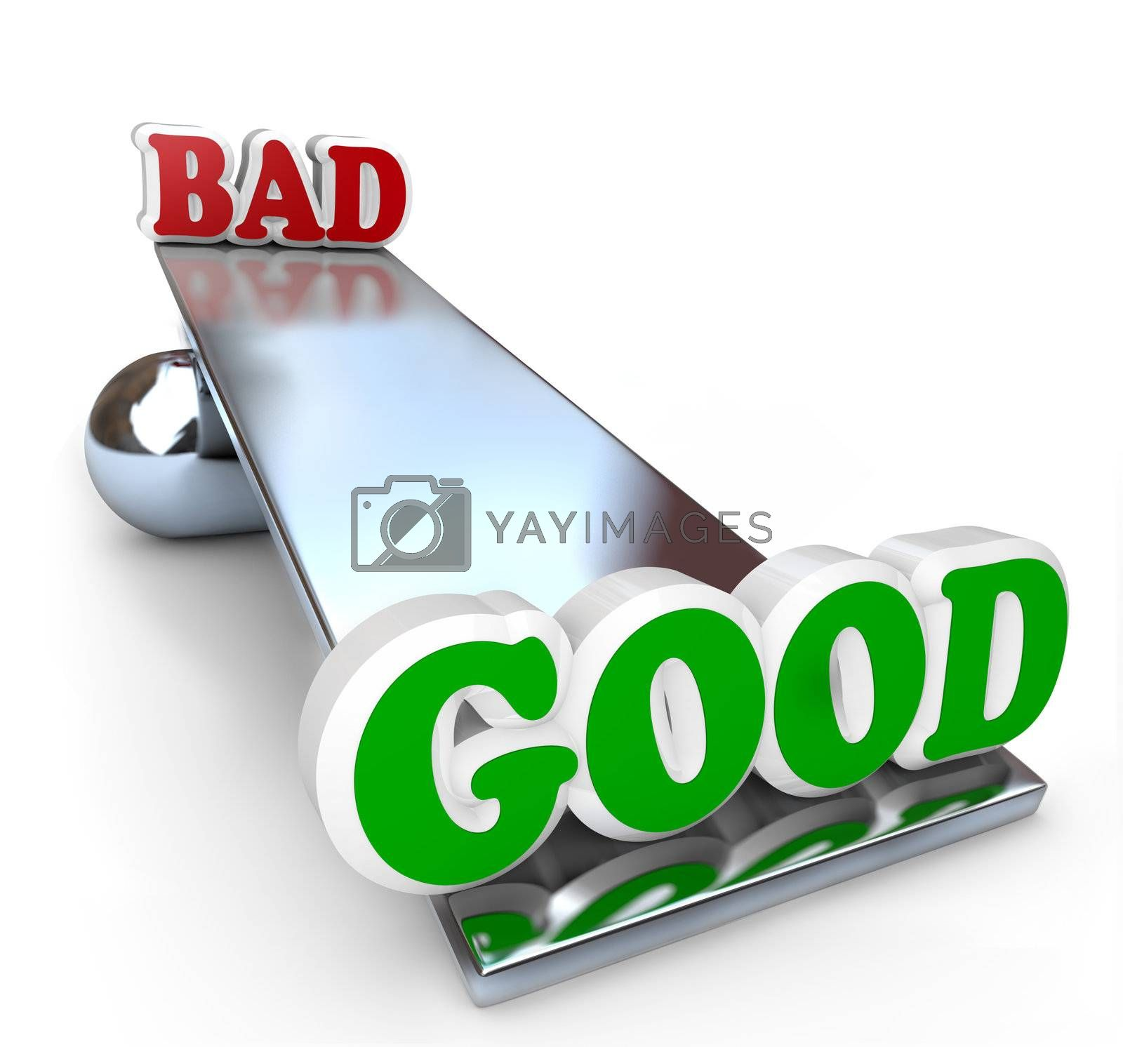 The words Good and Bad on a see-saw balance board, weighing the differences of positive and negative qualities to make a decision