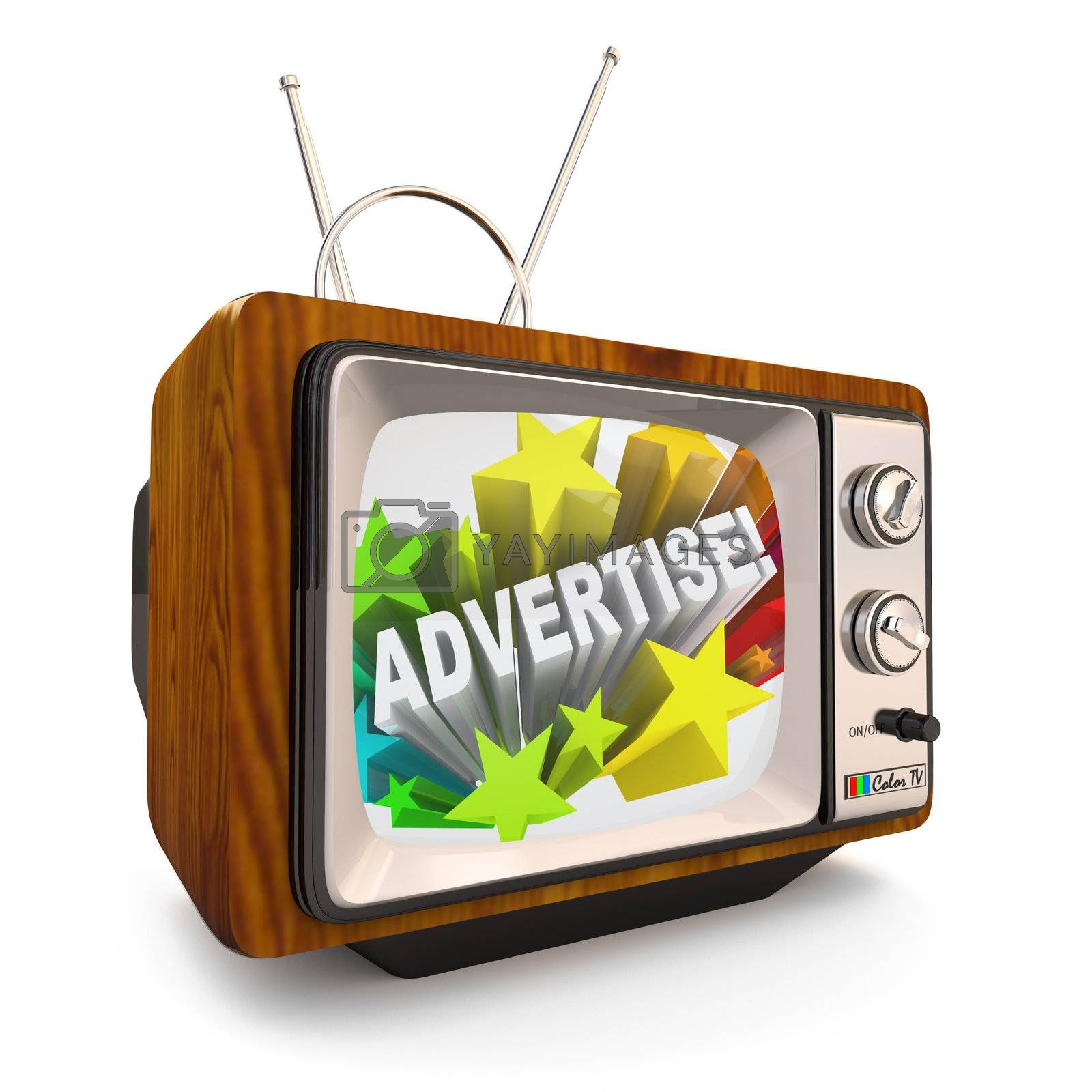 An old fashioned television shows the word Advertising and a burst of colorful stars to grab attention of customers