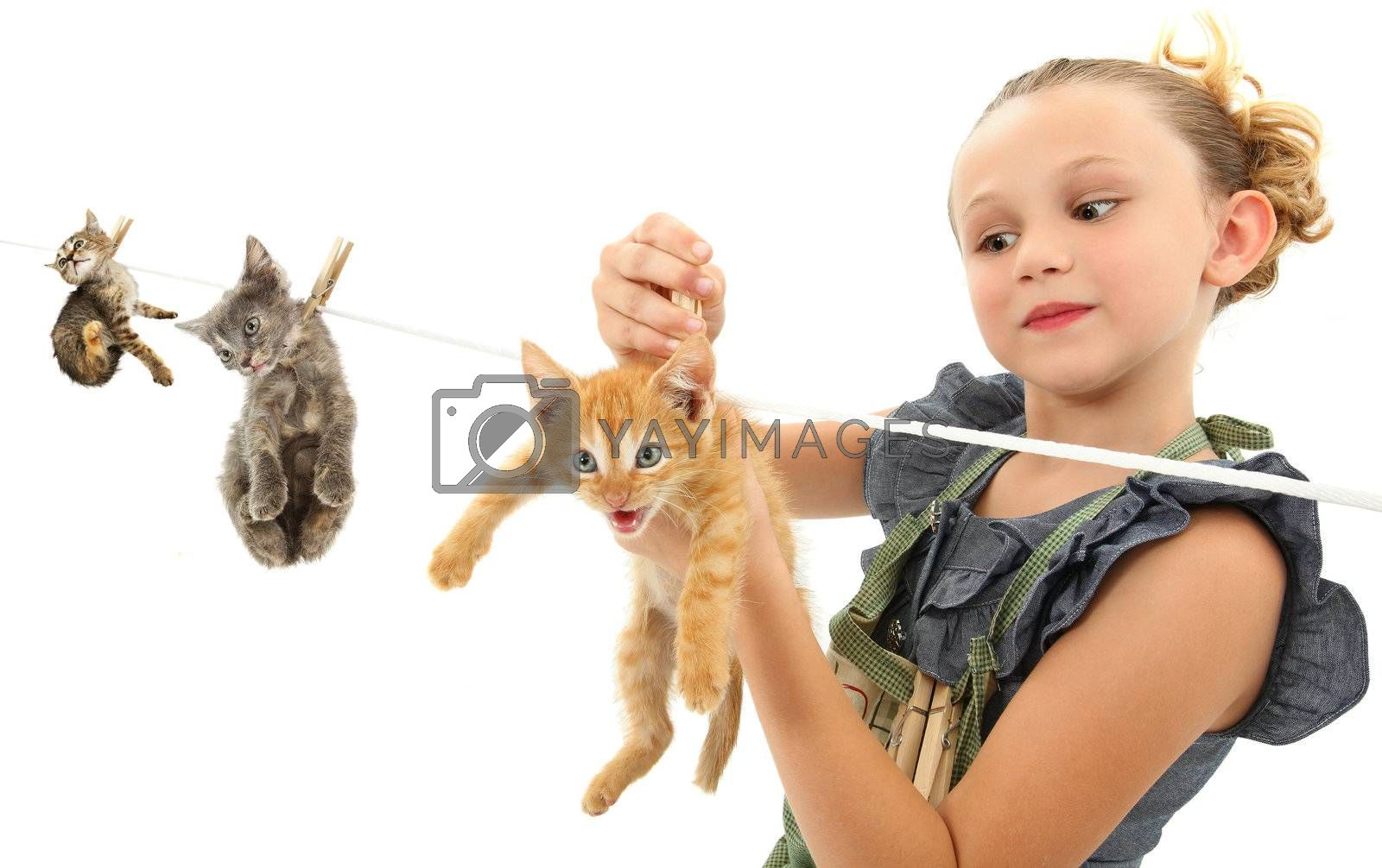 Image manipulation of girl child hanging kittens on a clothes line over white background.