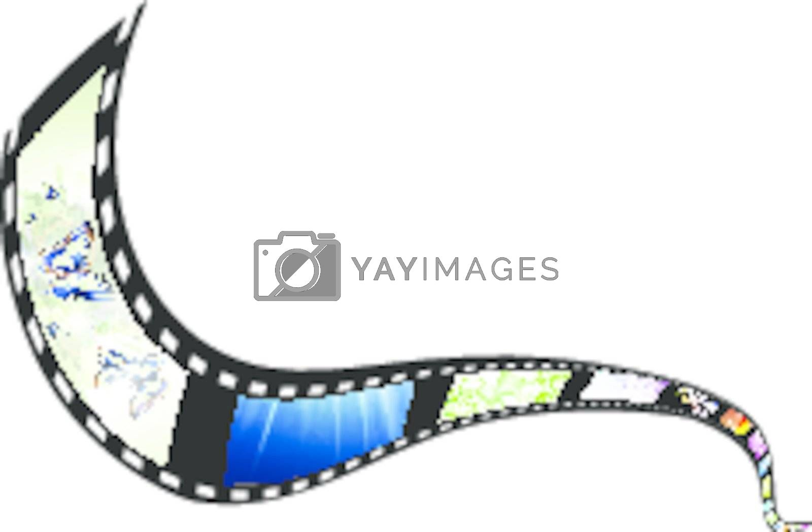 film with different subjects over white background, copyspace