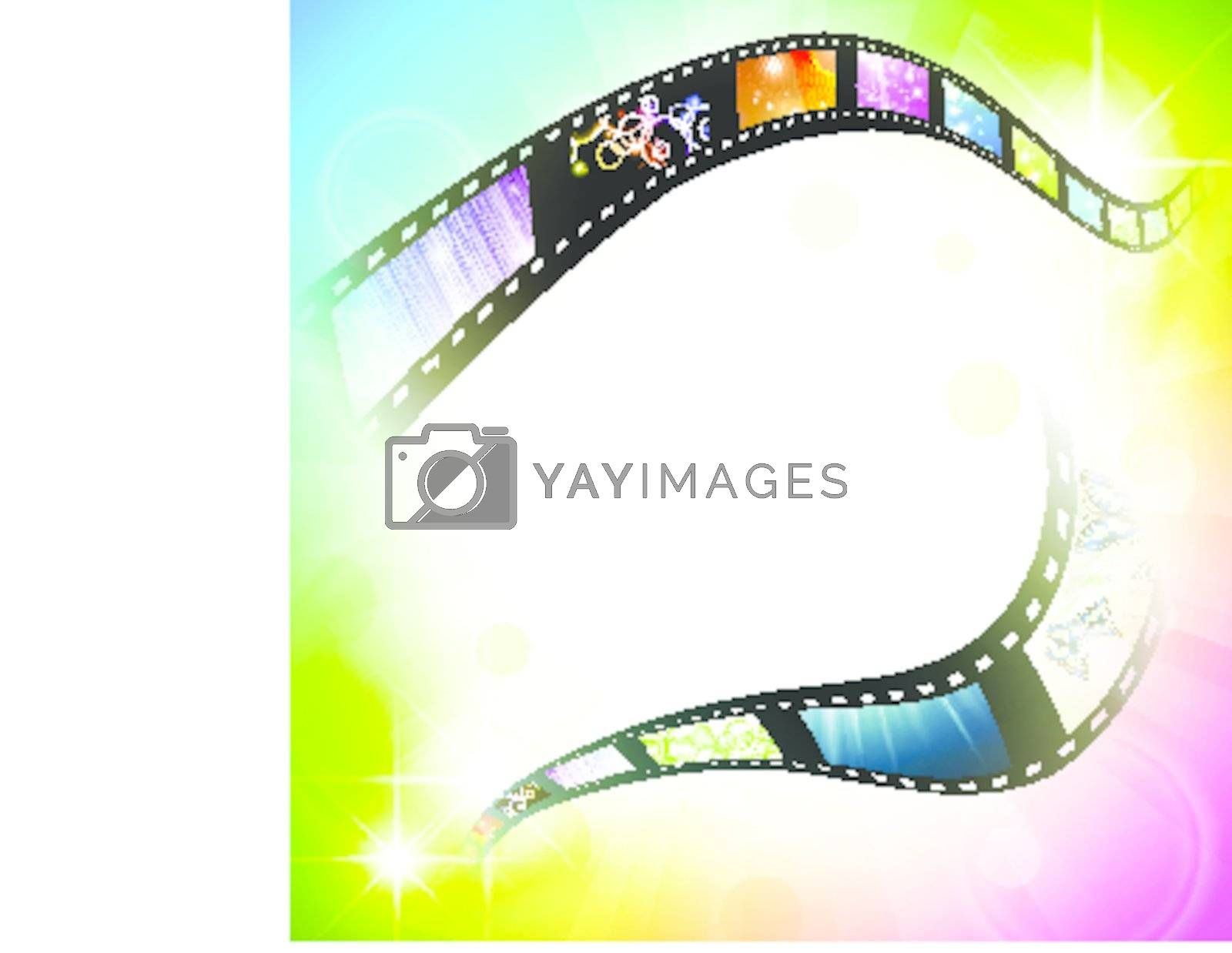 film frame with different subjects over multicolored background, copyspace