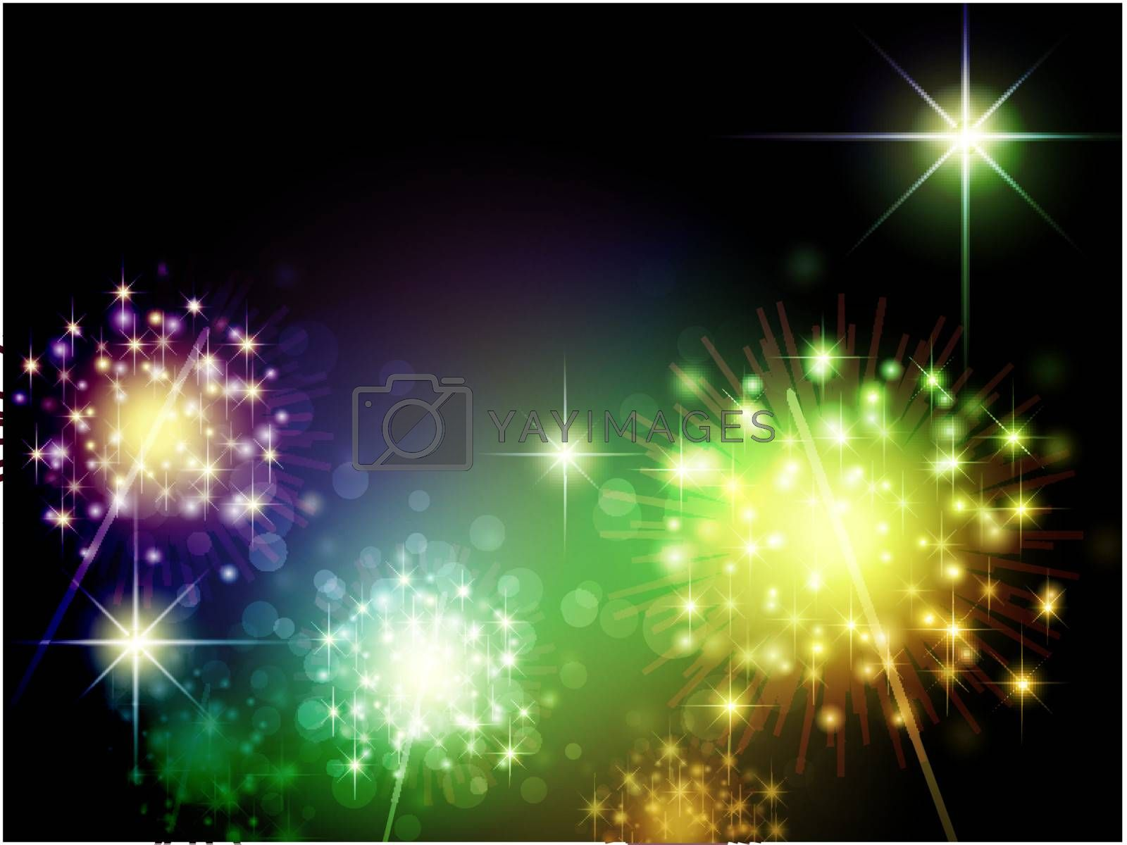 Night holiday theme with sparklers and copyspace