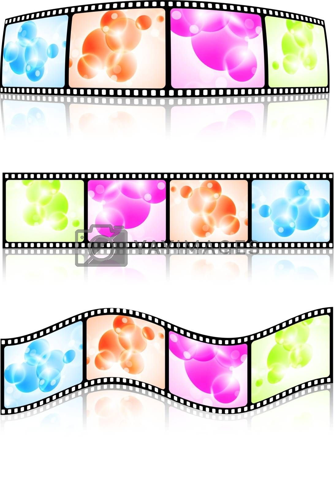 film strip set over white background