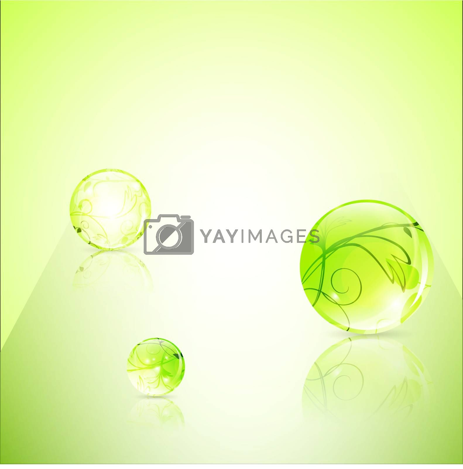 abstract green floral glossy balls with copyspace for your text