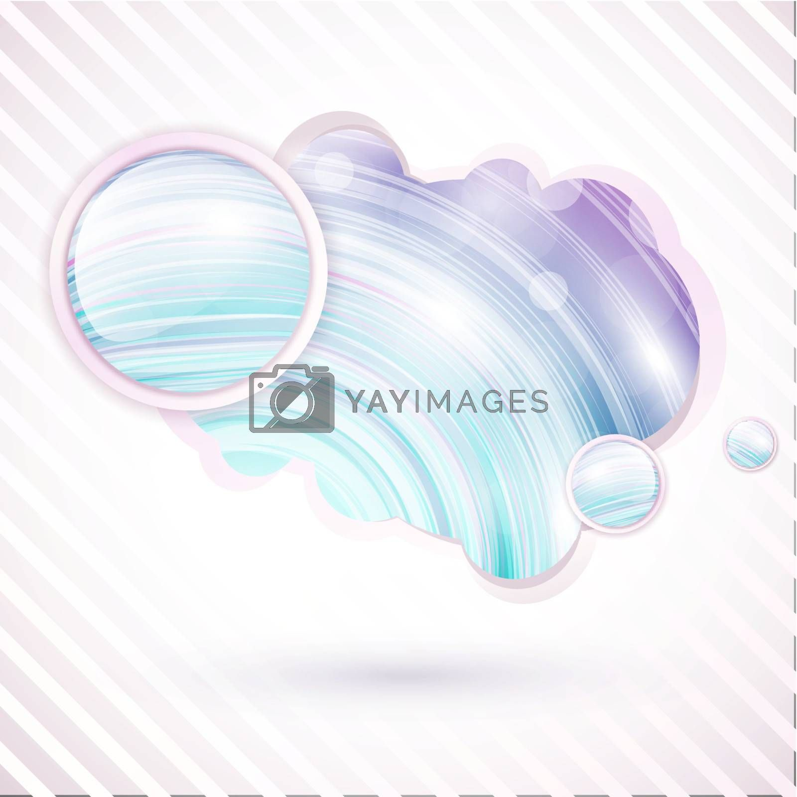 abstract multicolored speech shape with round buttons