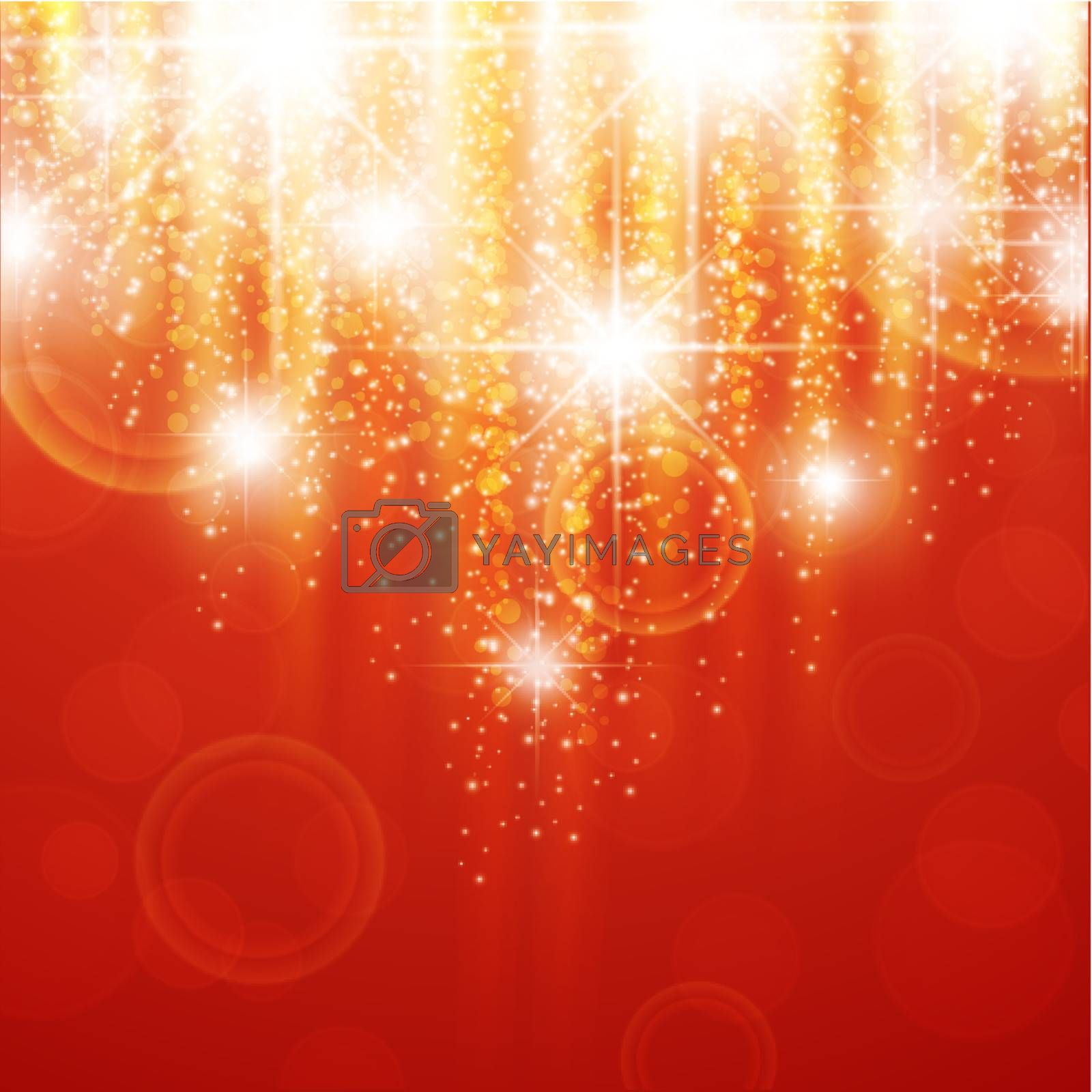 red holiday background with bright stars