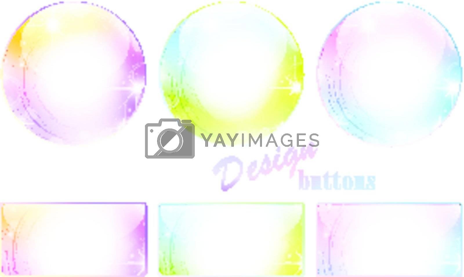 Design different multicolored button set over white
