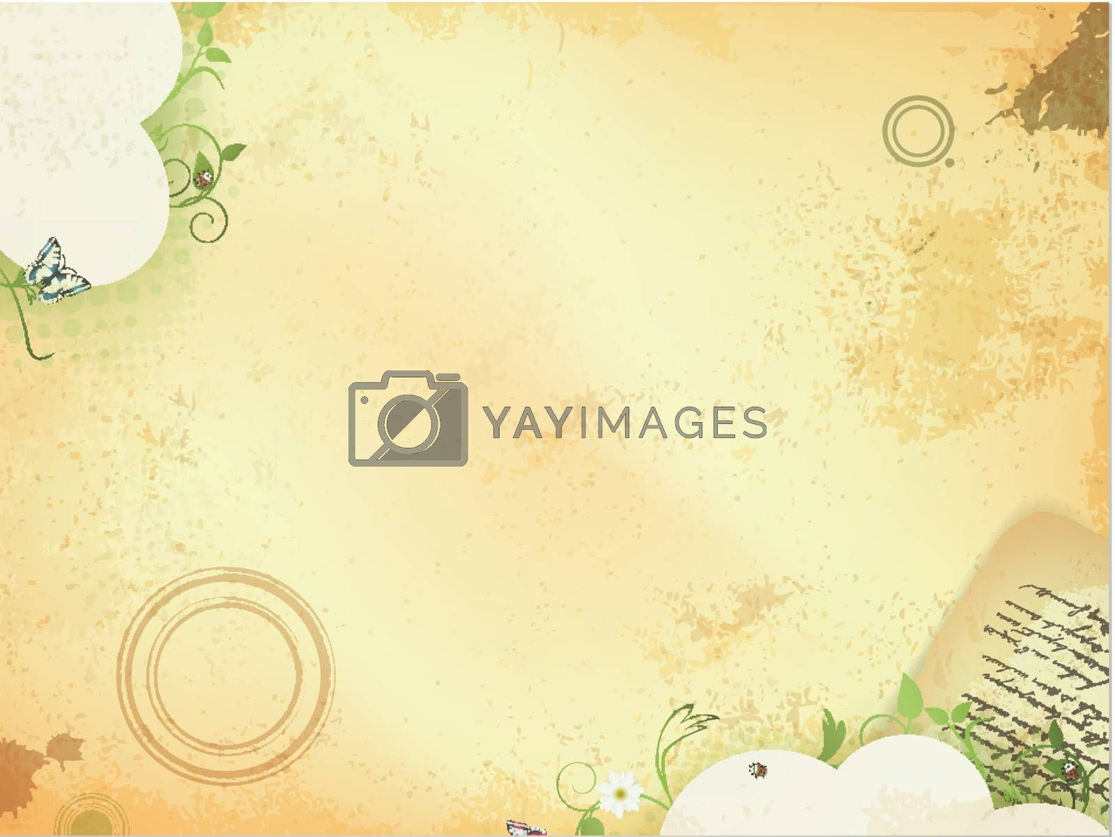 Royalty free image of Vintage background with green leaves and old letter by razvodovska
