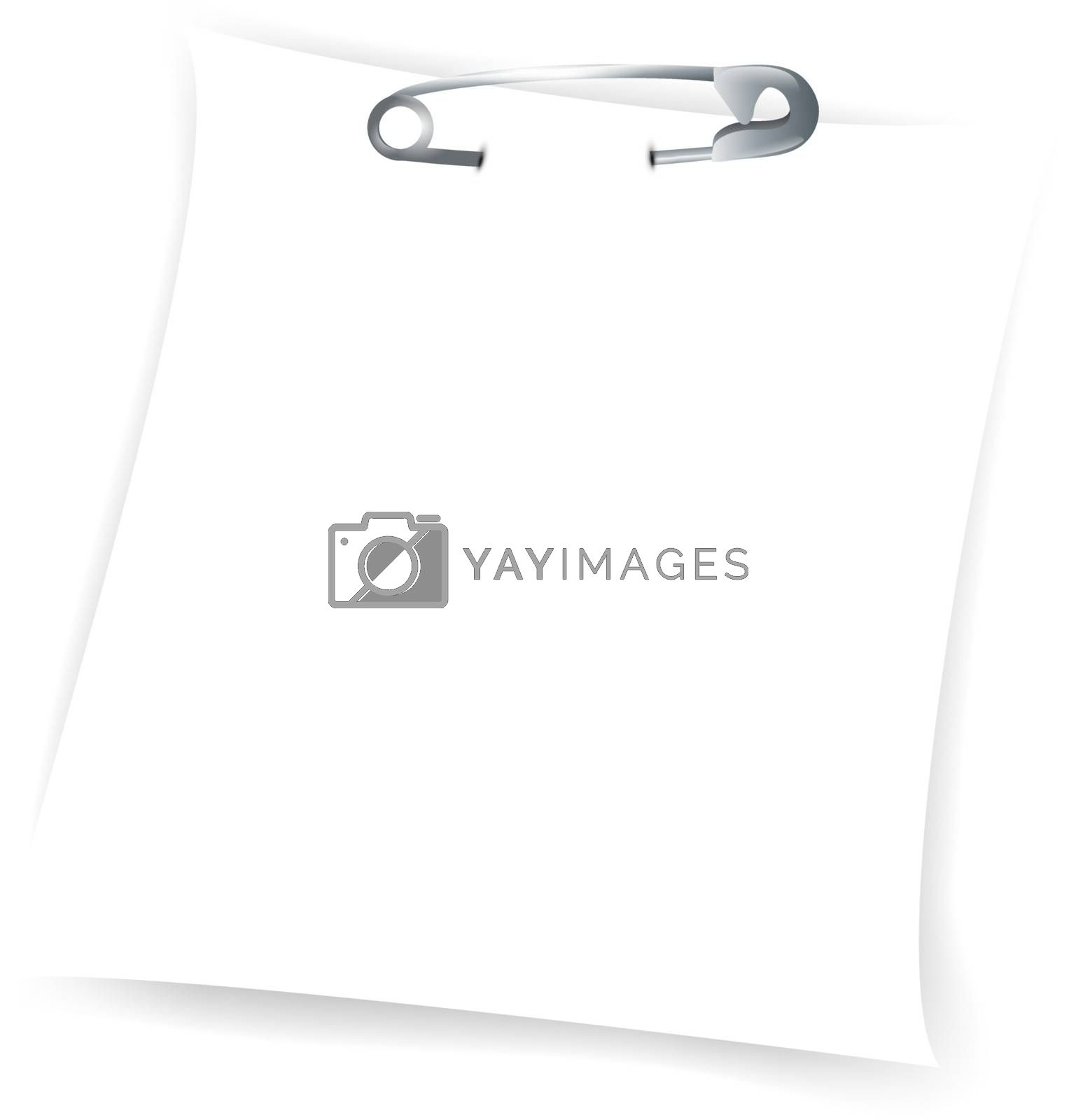 paper sheet attached with safety pin by razvodovska