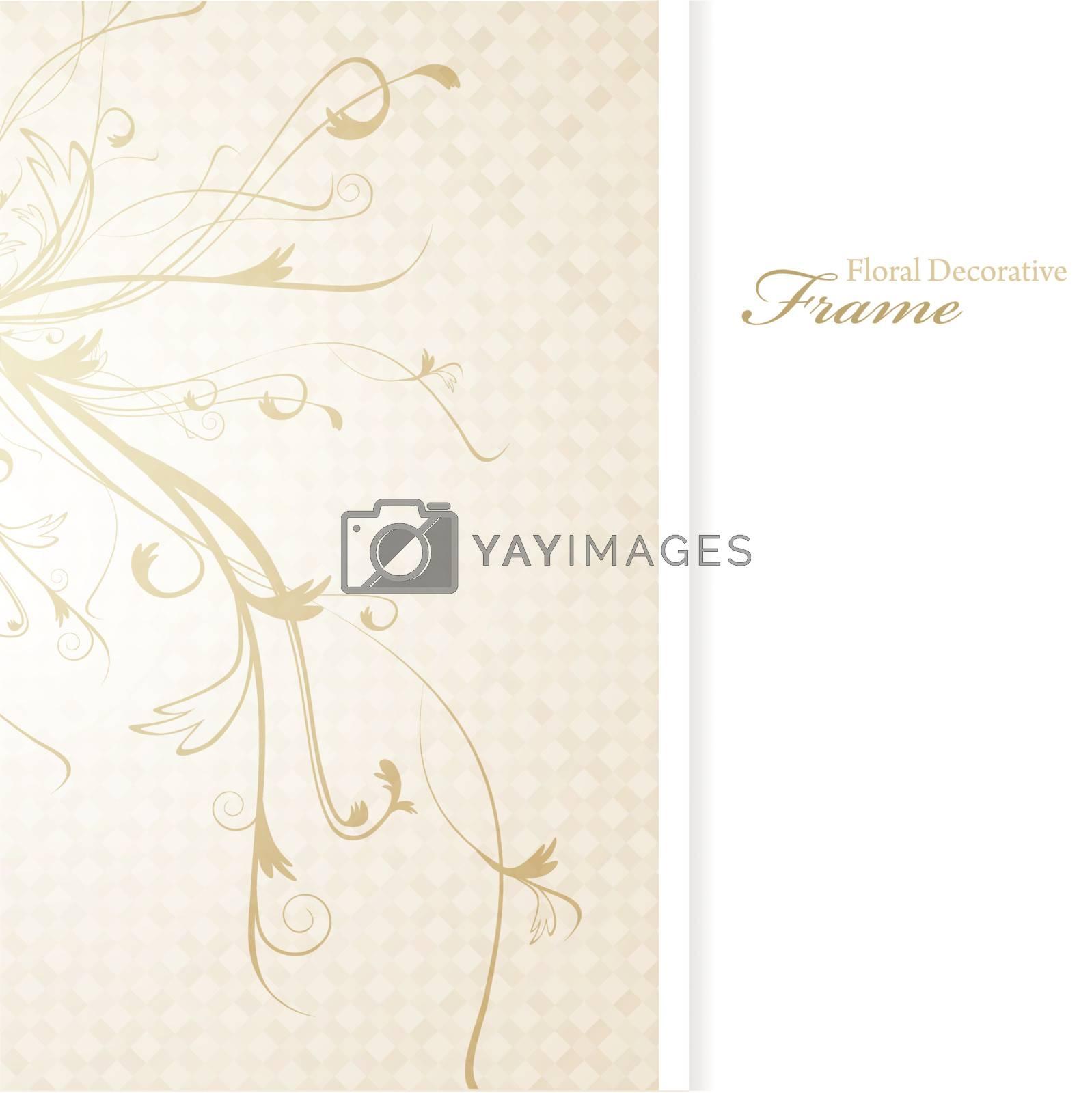 illustration of decorative floral frame in beige, copyspace