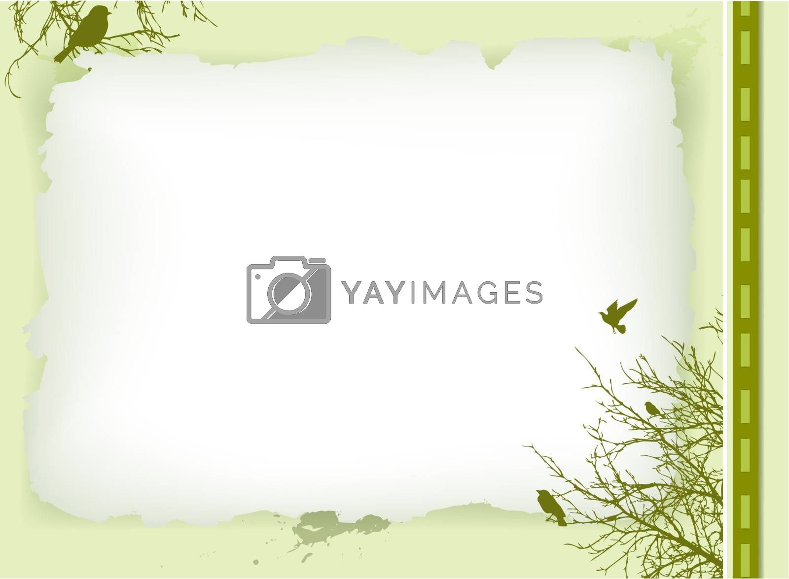decorative vintage invitation card with nature elements and copyspace