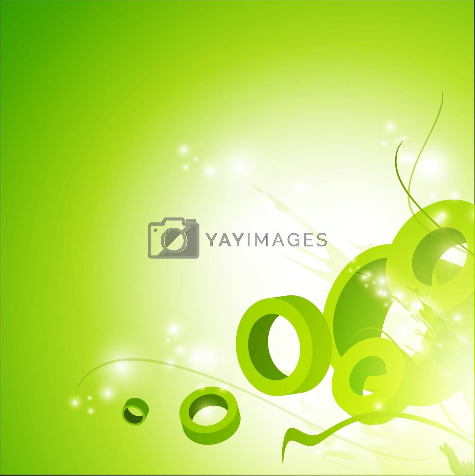 illustration of shaped bright green abstract background, copyspace for your text