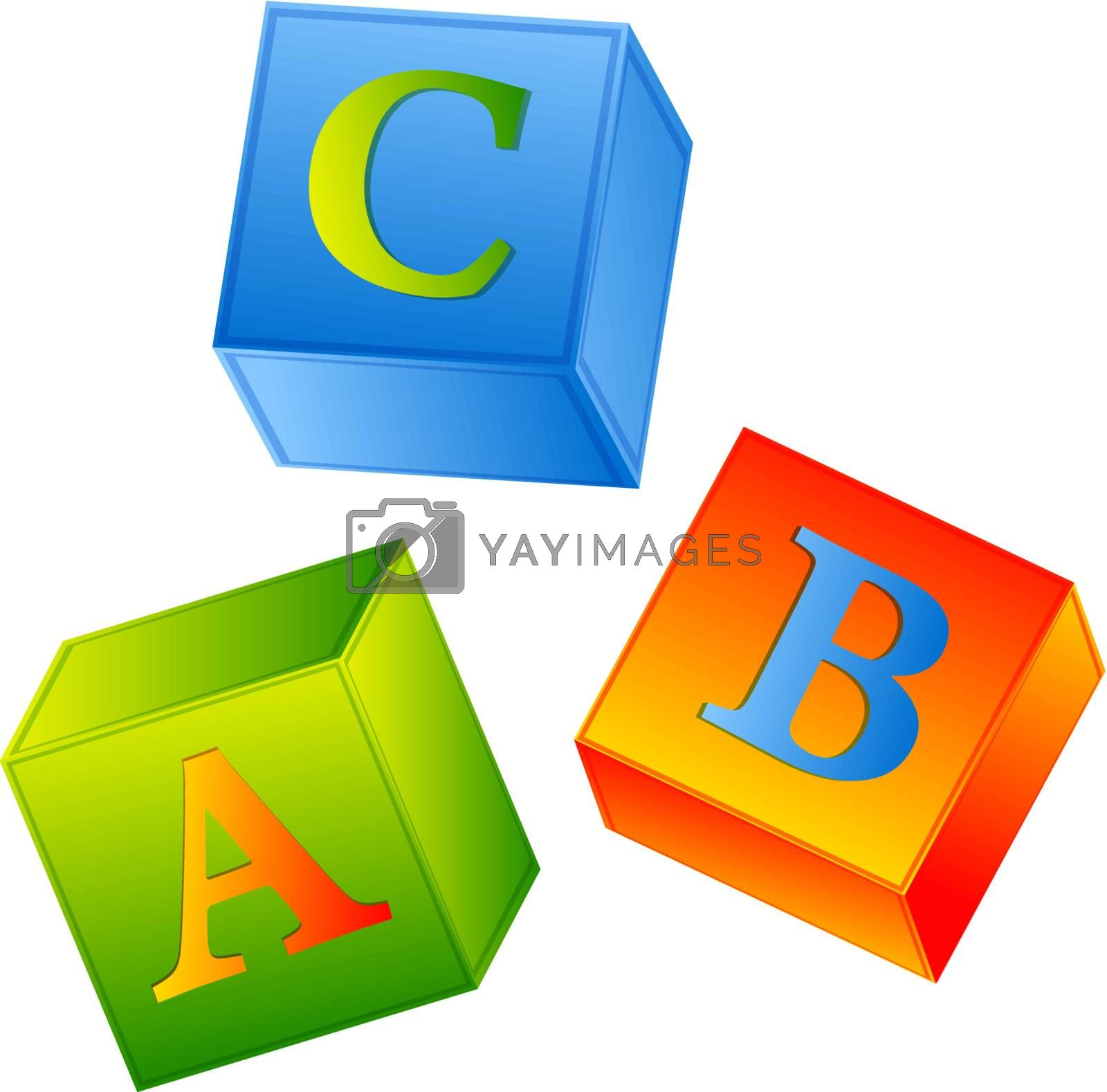 multicolored abc cubes over white background