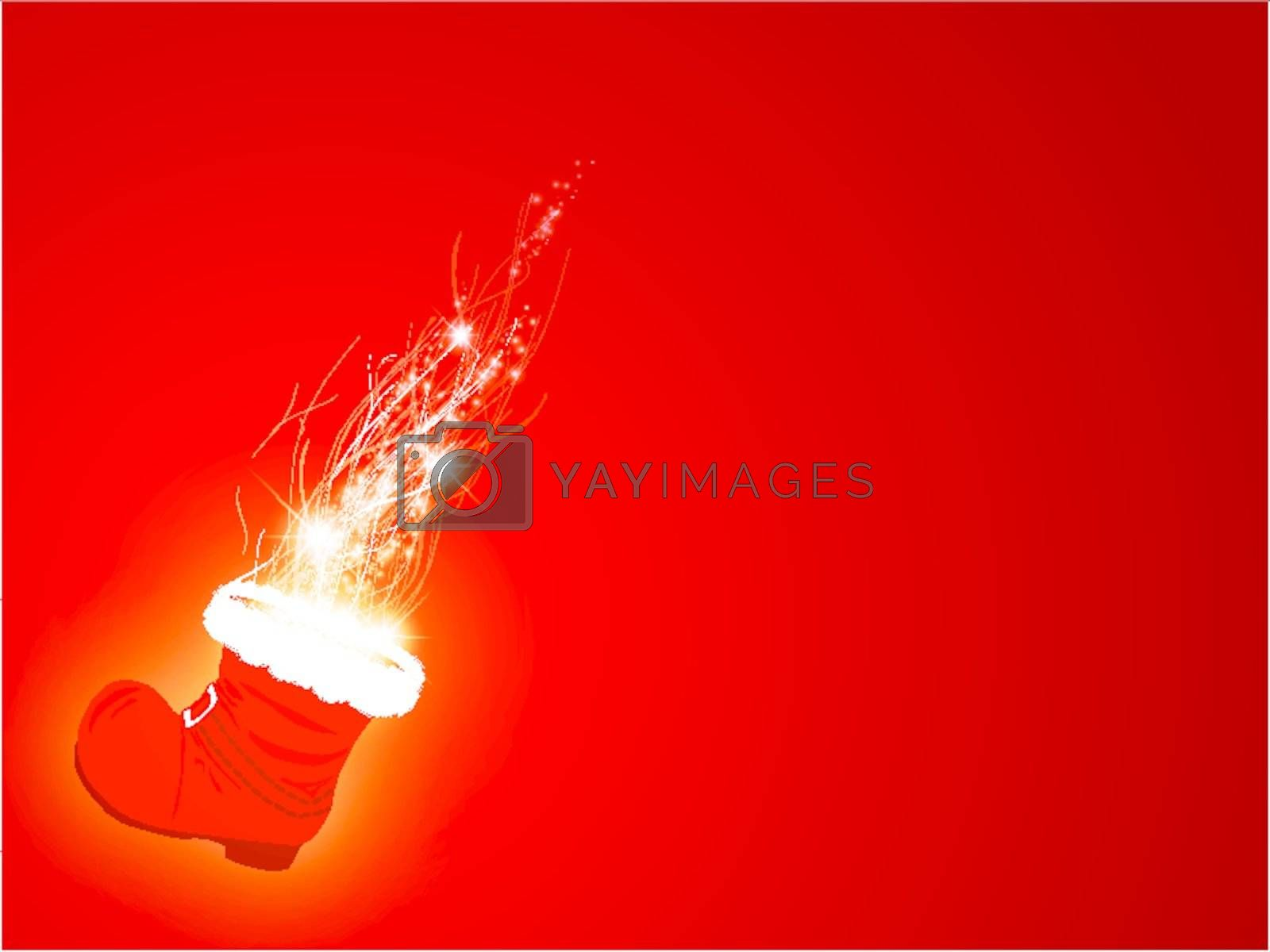 Christmas and New year wallpaper with magic Santa boot over red background,copyspace