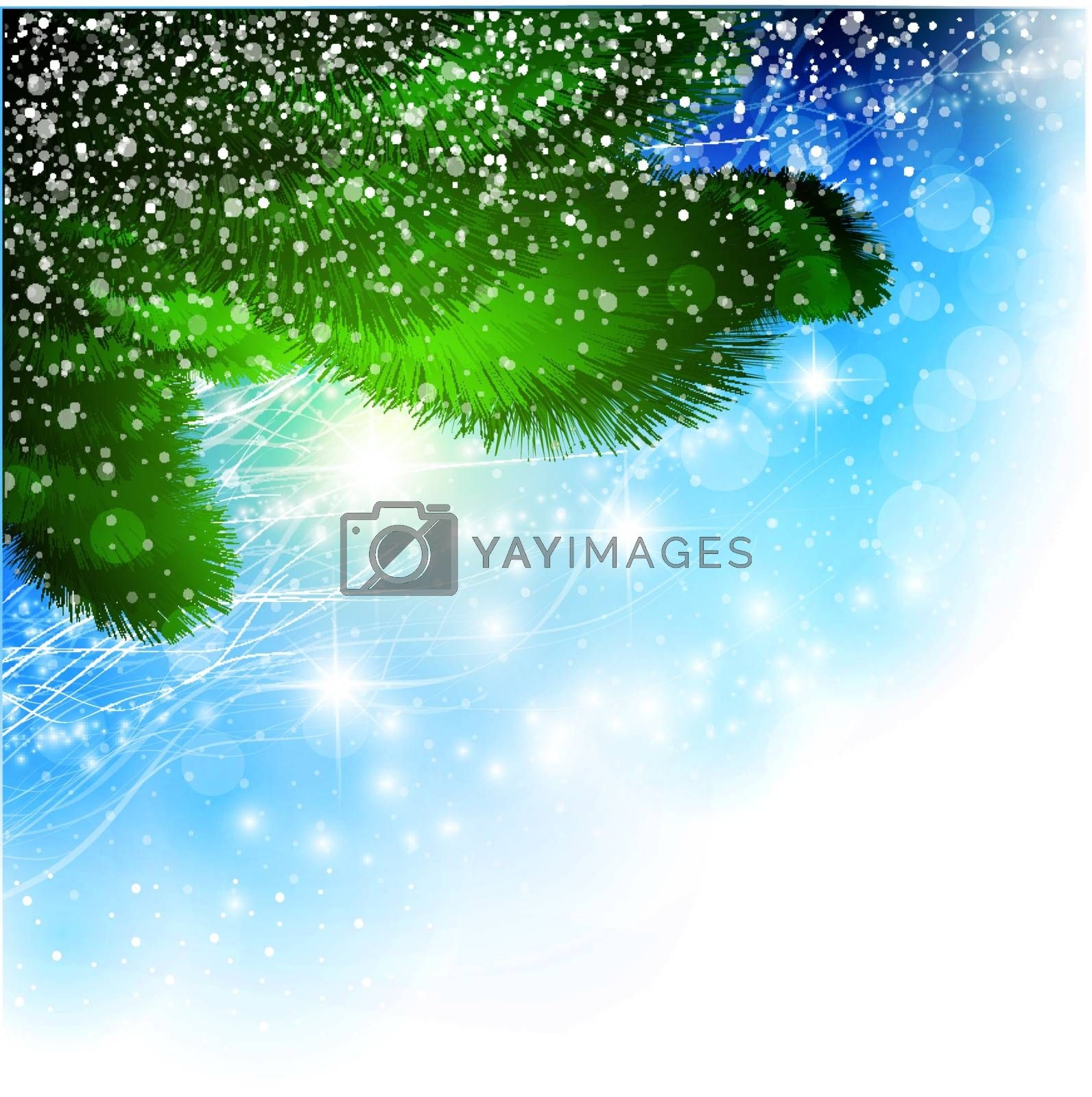 Christmas theme with pine tree branch over bright star background, copyspace