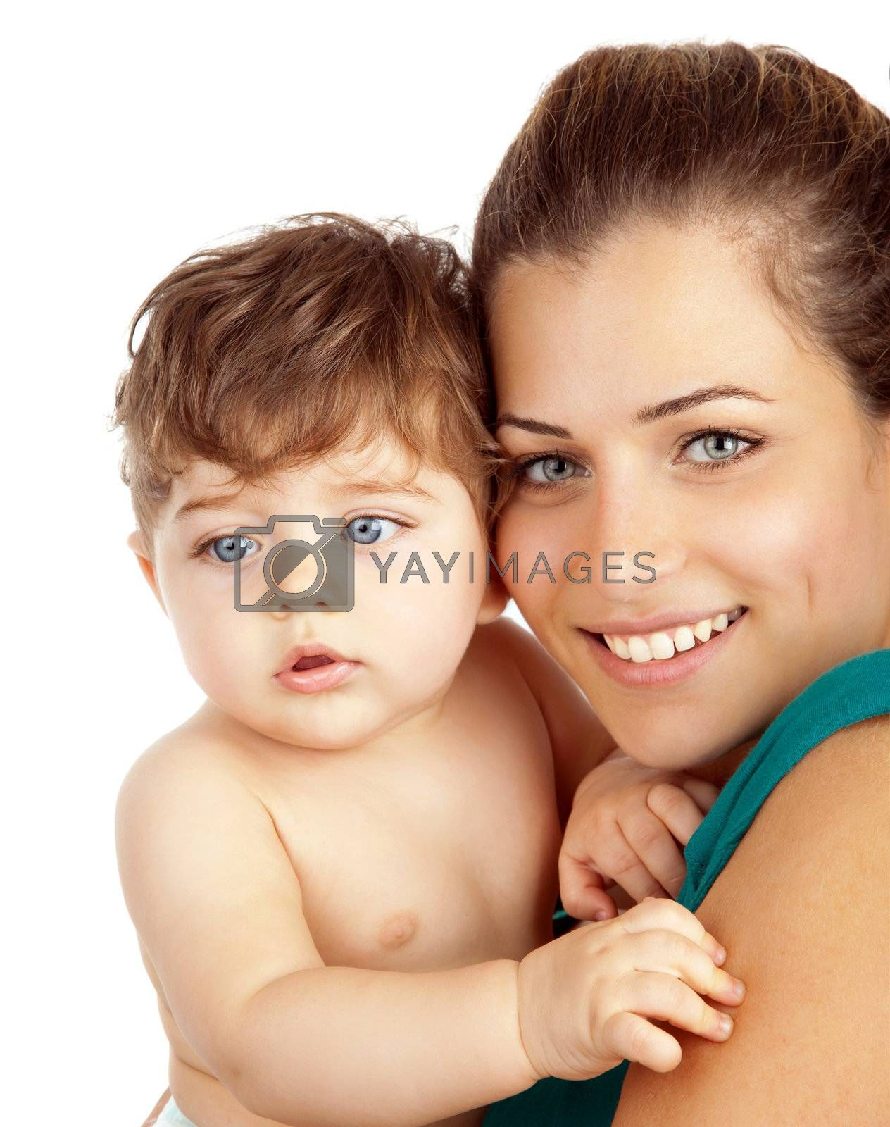 Closeup portrait of beautiful young mother with son, pretty mommy holding cute baby boy, attractive adult woman hugging sweet toddler, cute mom and adorable little child isolated on white background